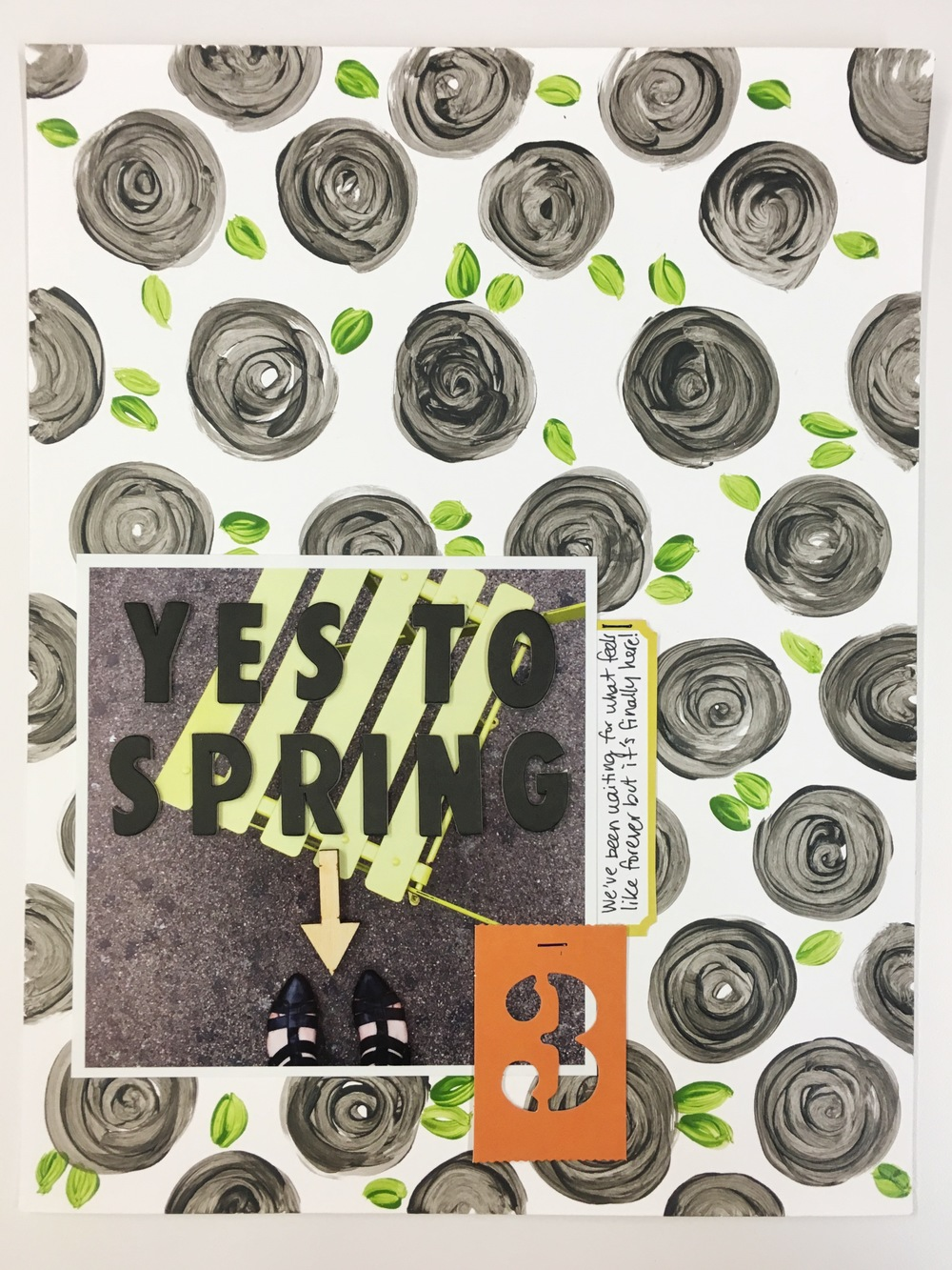 "Fast + Fabulous Friday with ""Yes to Spring"" Scrapbook Layout 