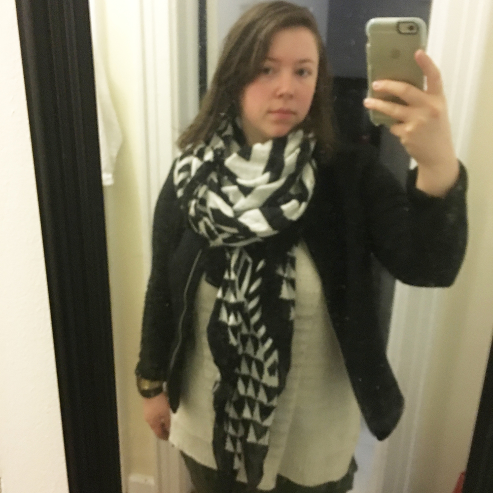 Dressed and ready to go with my go to scarf I snagged a couple weeks ago at a sample sale