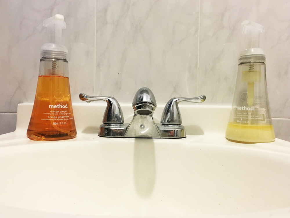 Wake up! I love the balance of our sink right now. Orange ginger on the left, honey on the right. The orange gives me a little kick in the morning.