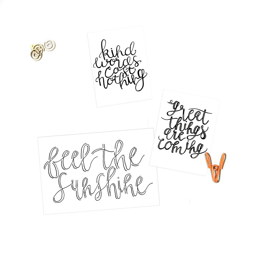 Freebie Hand Lettered Project Life Cards | The Paper Curator