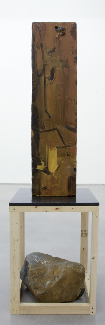 Archeology, 2011 Oil paint, gesso, Styrofoam, granite, pine, screws and stone  78 x 22 x 22 inches