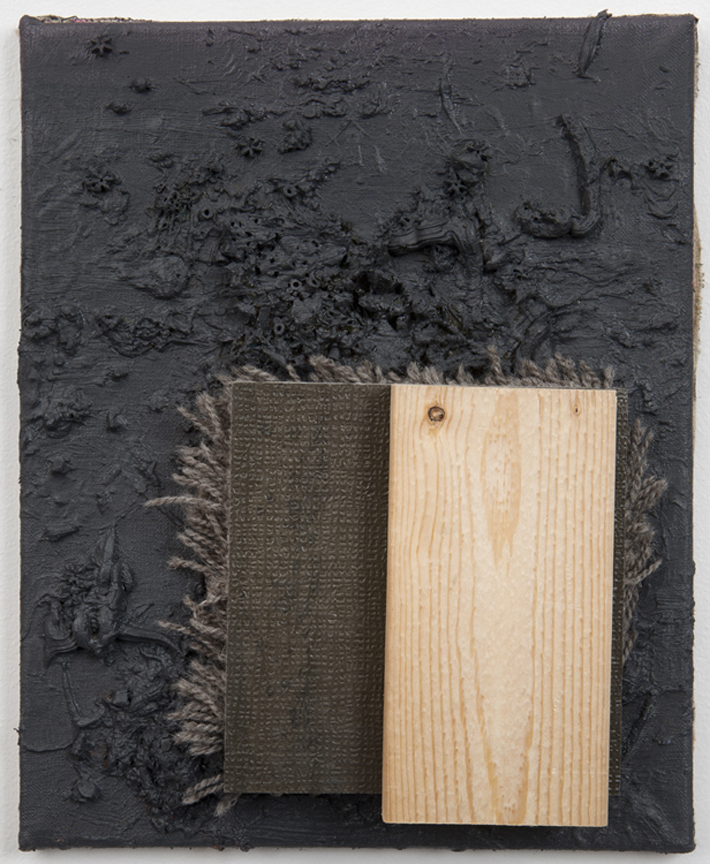 Los Angeles, 2011 Oil, beads, wool carpet and wood on linen 12 x 9 inches