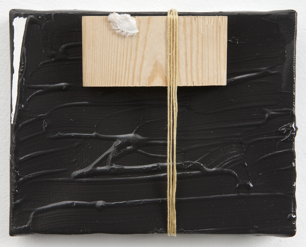 Pintuck, 2011 Oil, thread and wood on linen 5.5 x 7 inches