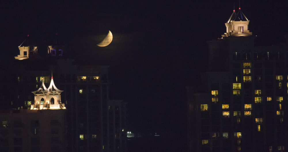 Moonrise over Nassau City. The Bahamas. 2015.