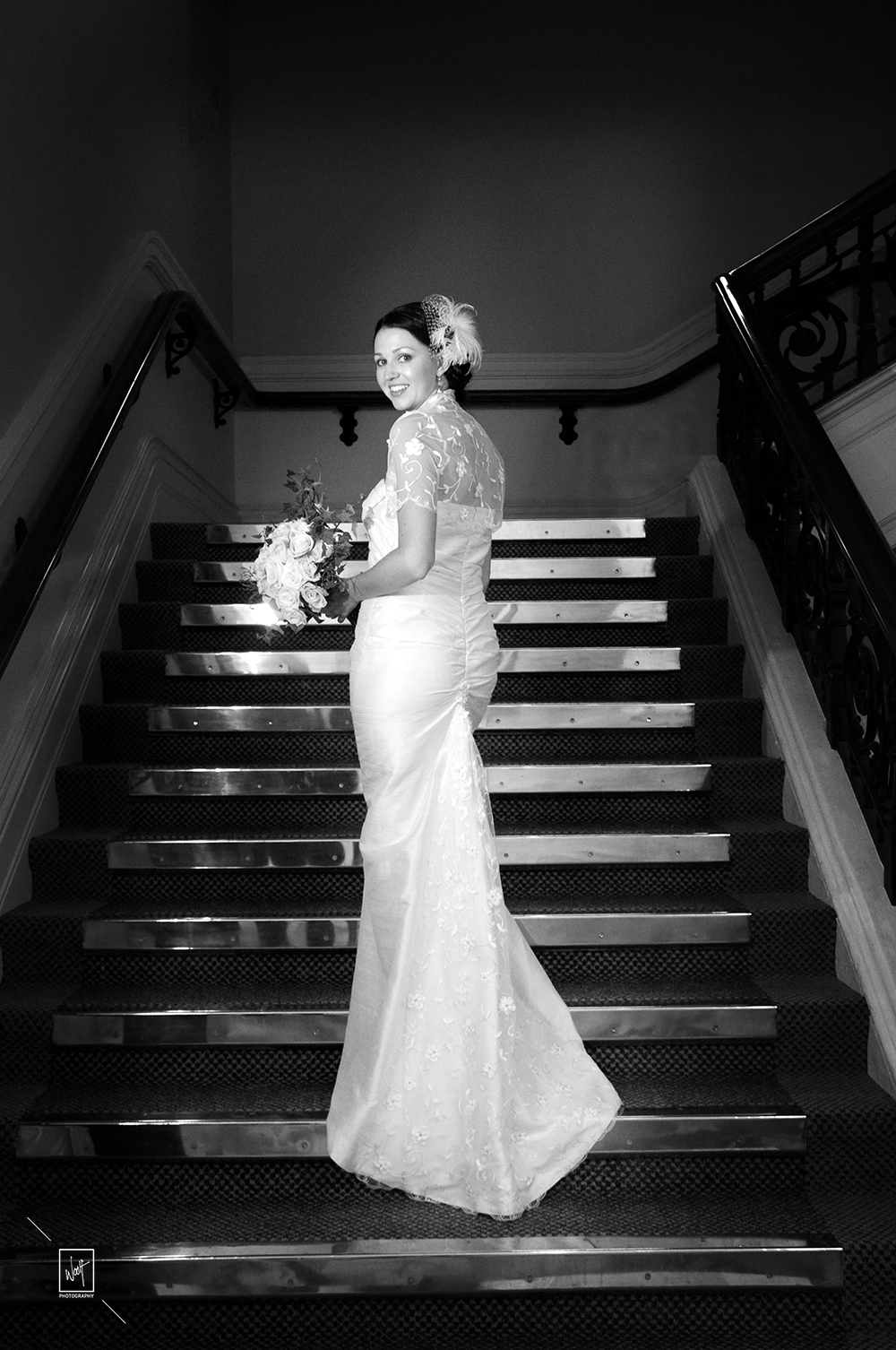 Beautiful bride on stairs