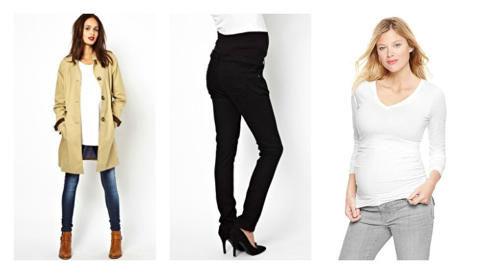 Trench, Black Slim Jeans, White Layering T