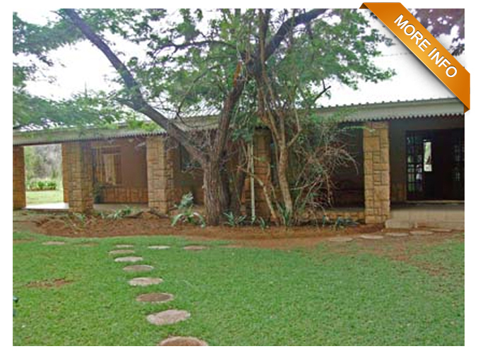 Ref: PS0032 |  Lovely bushveld smallholding,        22km west of Bela Bela. Game fenced, beautiful bushveld with various tree    species. Game watering hole. Home and garden game fenced. Perennial stream    around fully irrigated garden, covered deck overlooking stream. Commodius    air-conditioned home with large stoep and separate guest flat. Workers quarters    very neat, equipped boreholes, store room.      PRICE: R2 500 000