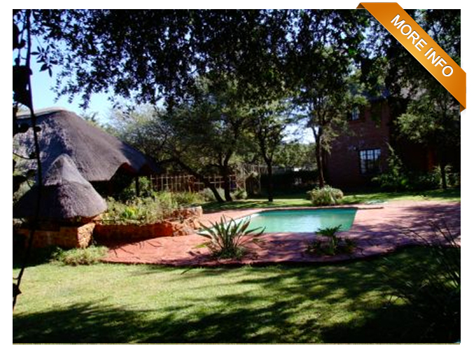 Ref: LR0015 |  Lovely 16 ha guest farm. 15 Km from Bela Bela.       Main building, double storey with upper lounge, bar, dining area, viewing deck    and kitchen. 5 Chalets, en-suite, accommodates 10 guests.  Central self-catering    kitchen.  Lapa with bar, built-in braai and braai pit that leads to swimming pool.    Shaded parking.  The property is fully fenced.  Rest of property is untouched    bushveld with roaming game.  Staff quarters sleeps 4 people.       PRICE: R4 900 000