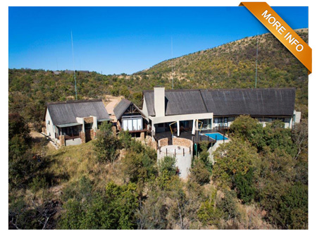 P RM003  |  From R5 650 per night   Magnificent west-facing views!  Highly elevated  5 En-suite bedrooms (3 inside main house and 2 guest rooms)  Guest WC  Yoga / reading room  Exquisite views from large decks  Open plan kitchen  Separate scullery  Lounge with fireplace  Dining area that leads onto deck  Sunken braai pit  Swimming Pool (Safety Pool Net at Optional Extra Cost)  Game Drive Vehicle available at R1,000 per day (subject to being booked during the full duration of your stay)    PRICE: R5 650 PER NIGHT (Out of Season)   PRICE: R6 150 PER NIGHT (Peak Season)