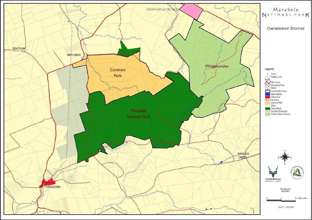 Area map of portion of the Waterberg Biosphere Reserve, including Marekele National Park, Welgevonden Game Reserve and Hermanusdoorns Game Farm (Click to enlarge)