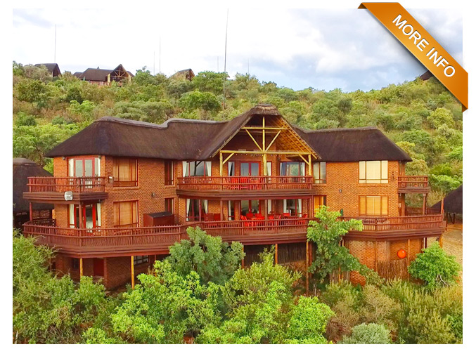 PTY65 | Spectacular home with exquisite sunset views!    Large living area & dining room, fully equipped kitchen with separate laundry room. 5 en-suite bedrooms plus an additional 2 en-suite bedrooms to be used as maids quarters/study. Under-deck workshop with sink/bench.  Large boma / fire-pit and braai area, 10 x person Jacuzzi with timer. Geyser timers. DSTV & wireless router. Alarm linked to smoke detectors. Own generator.  Carport for 4 x vehicles plus for 2 game drive vehicles.  Own waterhole! A Must See!!   PRICE: R4500 000