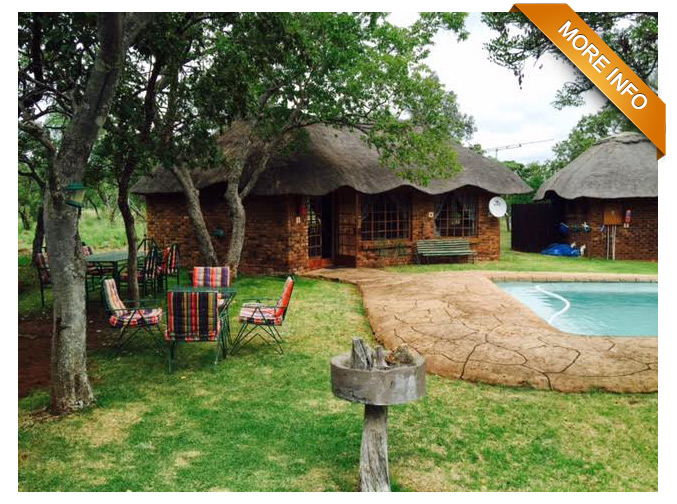 PS0042 | 151 Ha in the Elandsfontein area of Bela Bela   Farm with extensive stocked with wild animals. Toyota Landcruiser, and Tractor included. 4 Chalets with lapa/boma area, swimming pool, game Fenced and a lot more.   PRICE: R6 500 000
