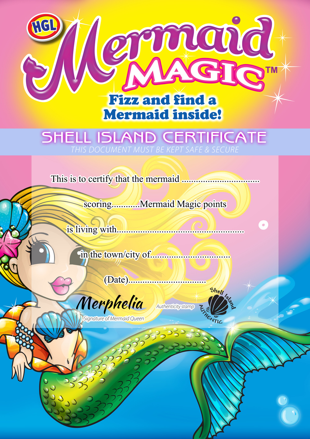 Mermaid Magic Certificate Collectors Sheet Ozbozz