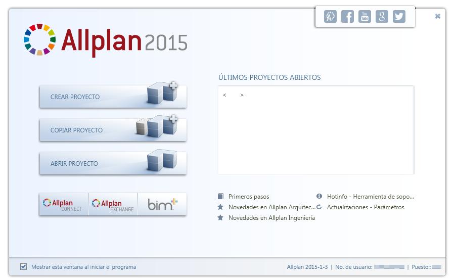 Pantalla de bienvenida en Allplan 2015