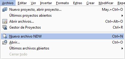 Crear un nuevo archivo NDW