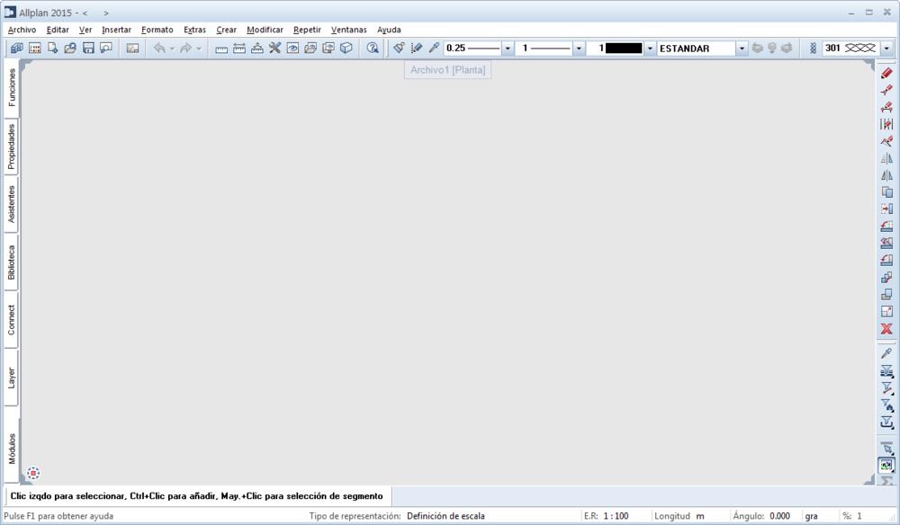 Interfaz de Allplan cuando trabajamos con archivos NDW individuales