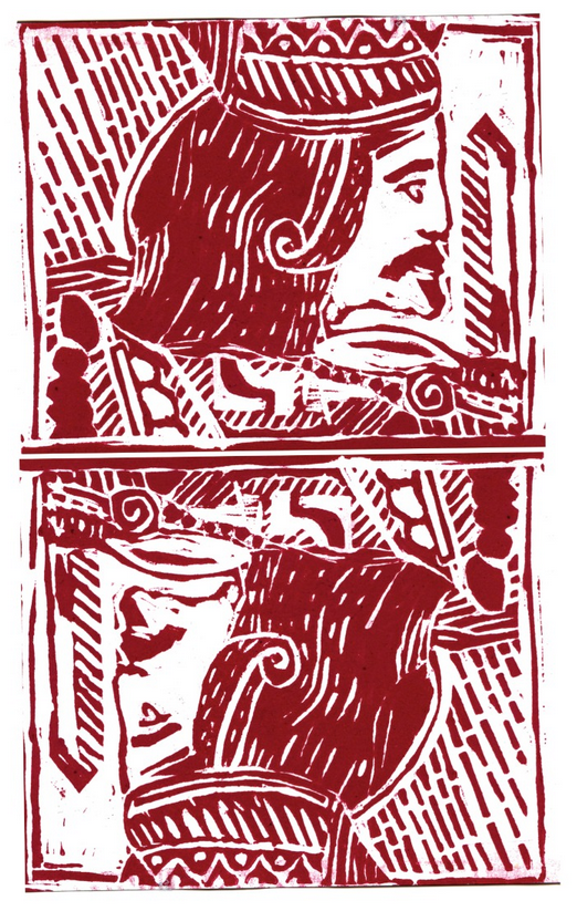 Lino print: ' I'm glad to see you're still alive you're looking like a saint'
