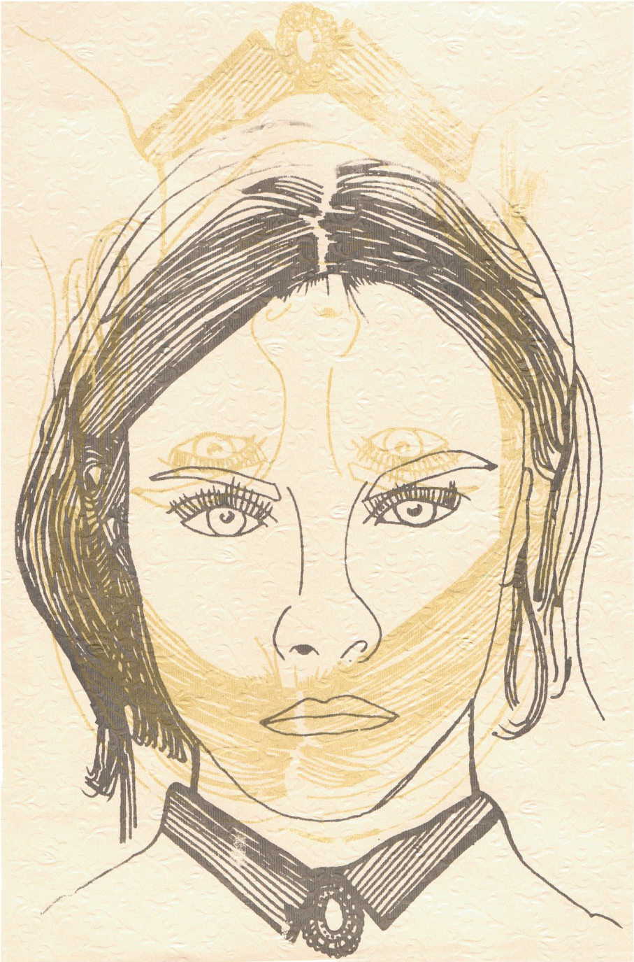 Screenprint: 'Lily was a princess she was fair-skinned and precious as a child'