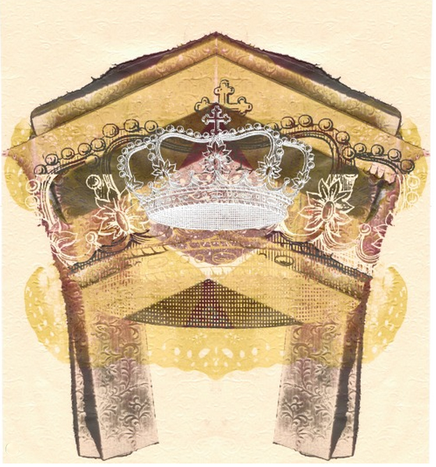 Screenprint: ' She slipped in through the side door looking like a queen without a crown'