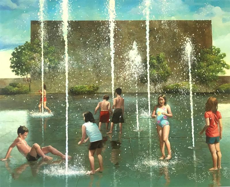 """""""The Fountain"""" 20x27 acrylic on panel"""