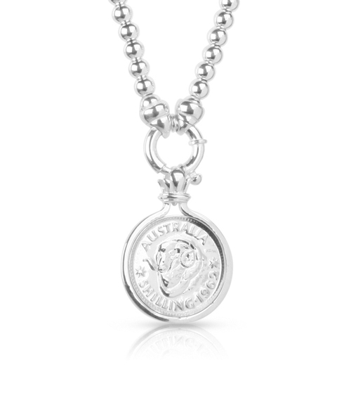 Ram design australian shilling coin pendant wpetite italian silver ram design australian shilling coin pendant wpetite italian silver ball necklace aloadofball Image collections