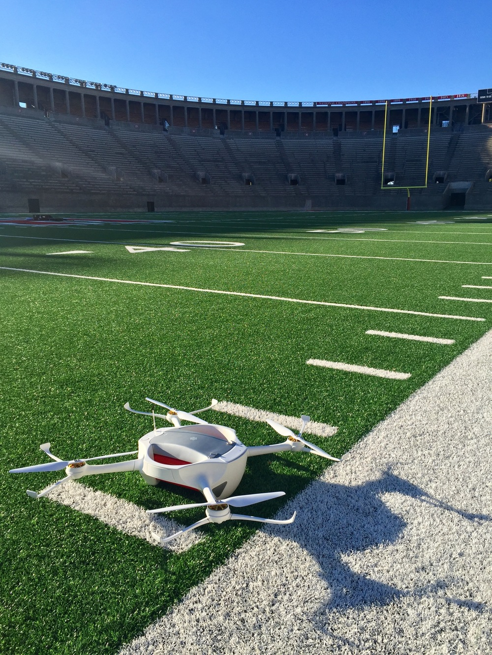 The Matternet One UAV just after safety test-flights in Harvard Stadium