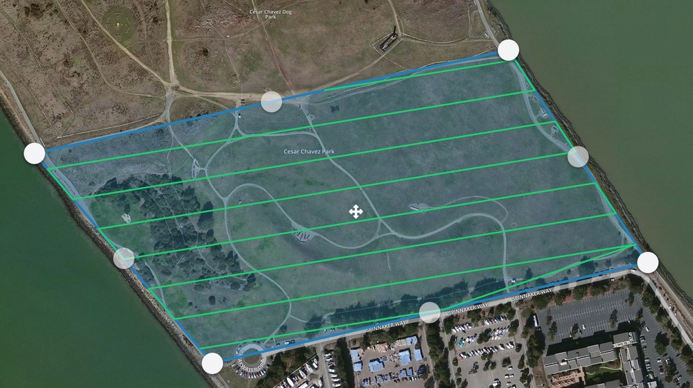 An example of an automated flight plan pattern automatically created by DroneDeploy, a provider of autopilot software.