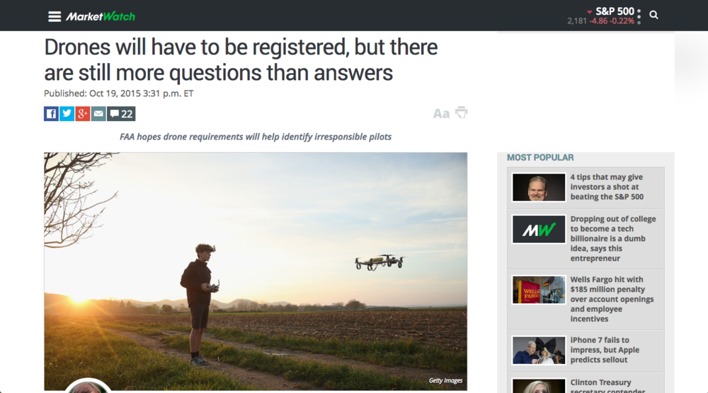 Drone UAV registration FAA