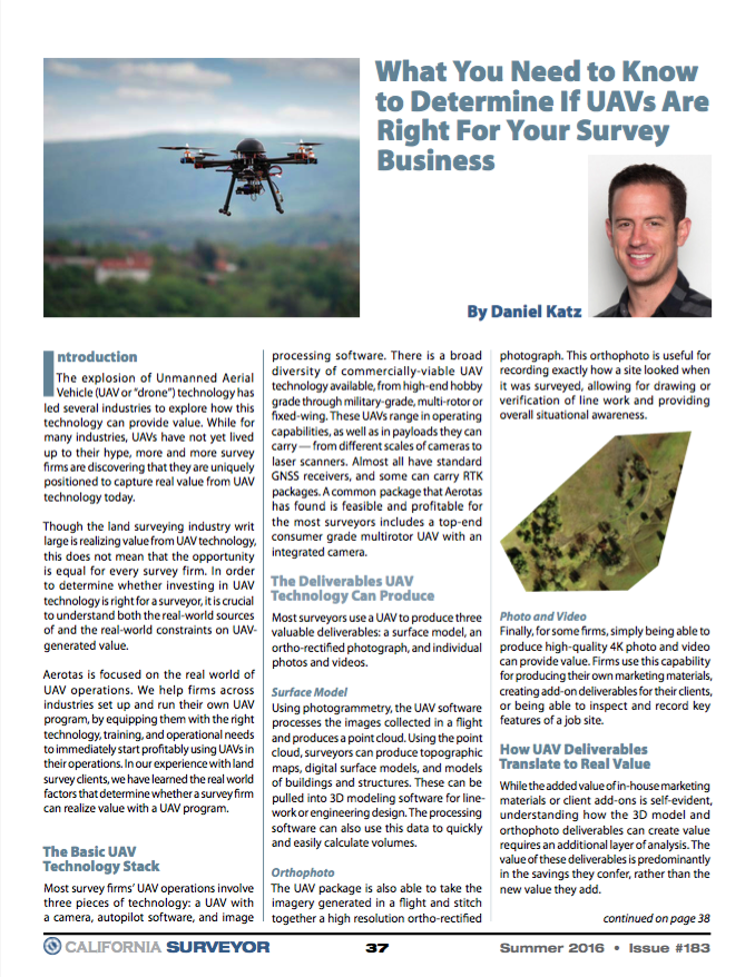 Cal Surveyor UAV article expert