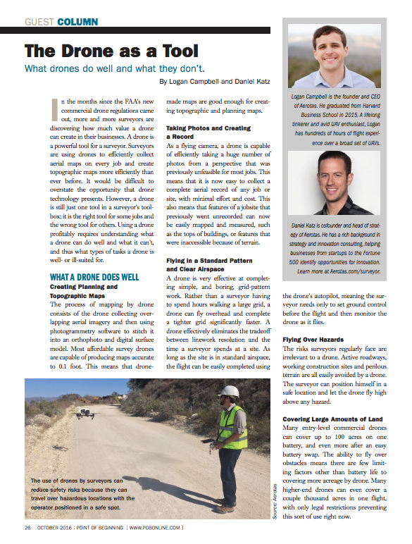 Drone mapping for surveyors in POB magazine