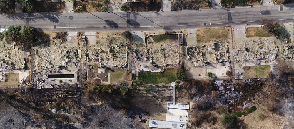 Photo showing houses before the fire - courtesy of Google Earth - and after - courtesy of WM Surveys using the Aerotas Mapping System