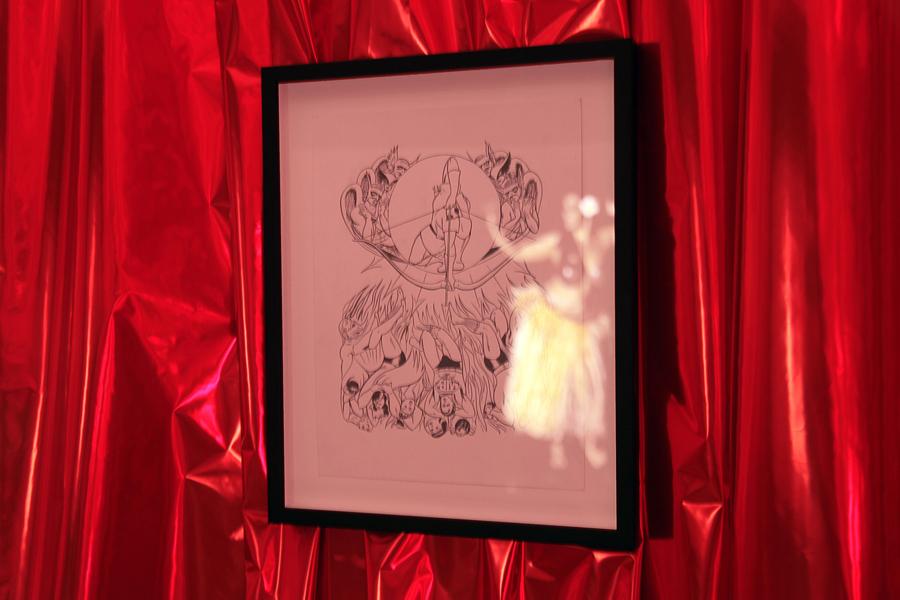 Jim SHAW. Blake/Boring, 2010. Encre sur papier  \Ink on paper . 38,5 x 31 cm encadré  \framed . Courtesy de l'artiste et Galerie Praz-Delavallade, Paris