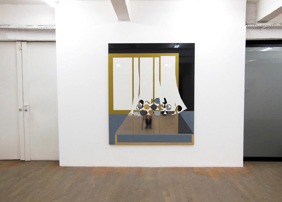 XAVIER THEUNIS   Sans titre (Intérieur #2) \ Untitled (Interior #2), 2008. Adhésifs vernis sur aluminium thermolaqué \ Varnished adhesives on aluminium.  180 x 150 x 3 cm