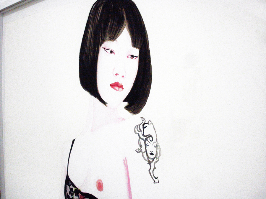 Juning (1), 2011. Aquarelle, encre de chine et laque sur papier \ Watercolor, ink and lacquer on canvas. 77 x 56 cm (Detail)