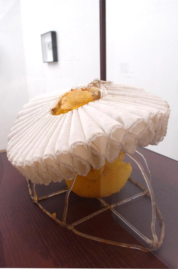 CELINE CLERON   La Régente \ Regent, 2012. Tissu, cire d'abeille, tubes acryliques, bois, verre  \ Fabric, beeswax, Plexiglass tubes, wood and glass. 35 x 54 x 45 cm.
