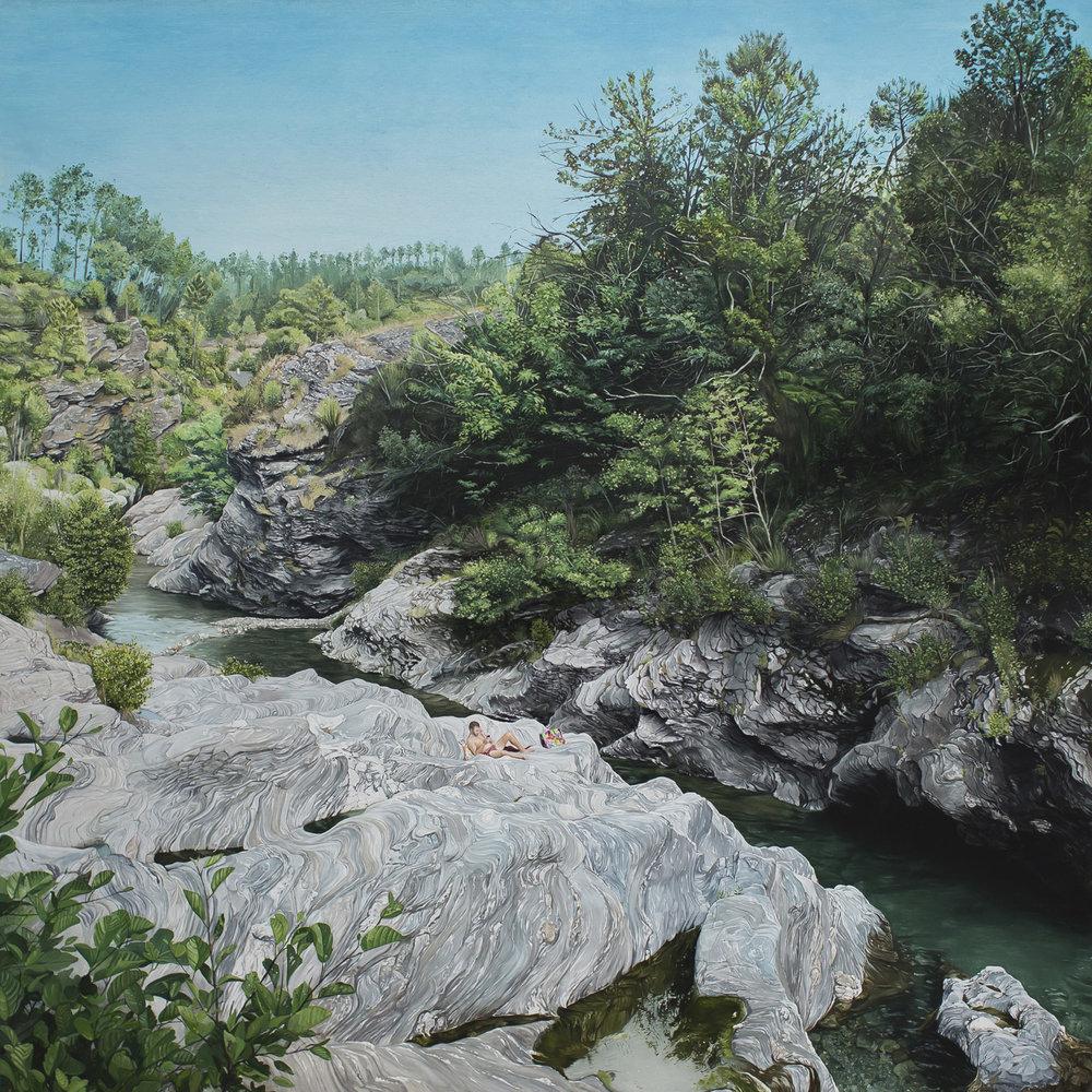 Vacance, 2014. Huile sur toile / Oil on canvas. 180 x 180 cm