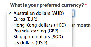 quote calculator – choose preferred currency