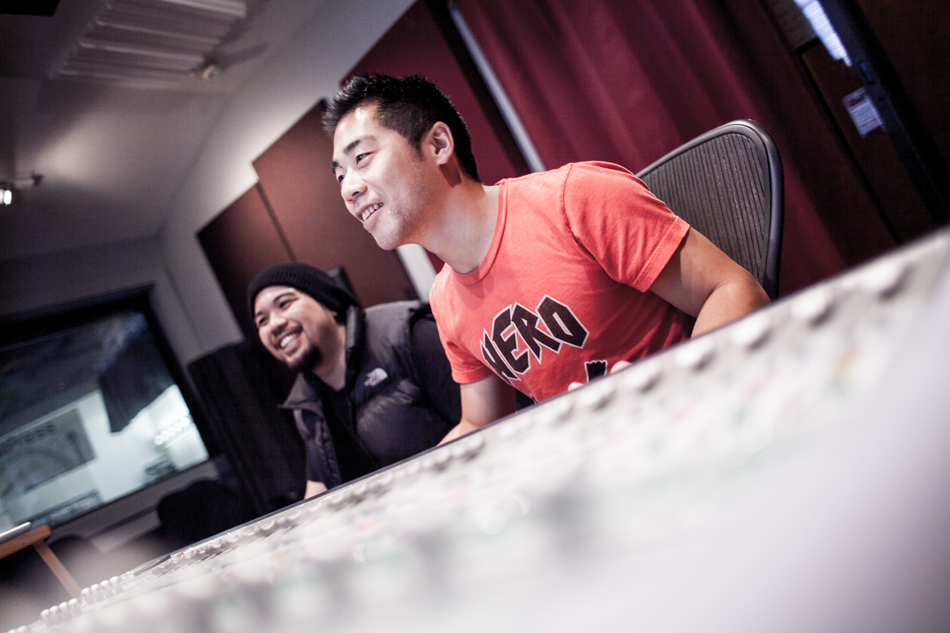 Two students learning music production at Pyramind Training