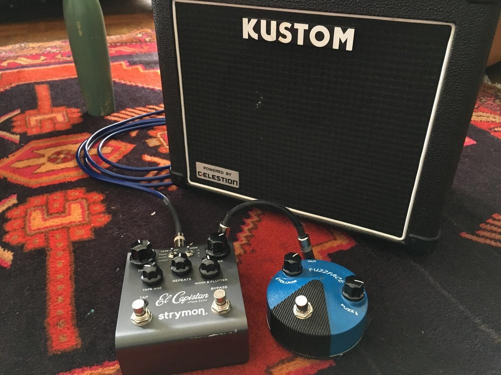 Dunlop Fuzzface Mini, Strymon El Capistan, and a Kustom practice amp.