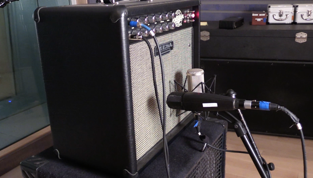 Mesa Boogie Rectoverb 25 guitar amp with a dual-mic set up: Sennheiser 421 dynamic cardioid microphone with a Cascade DR-2 ribbon figure-8 microphone