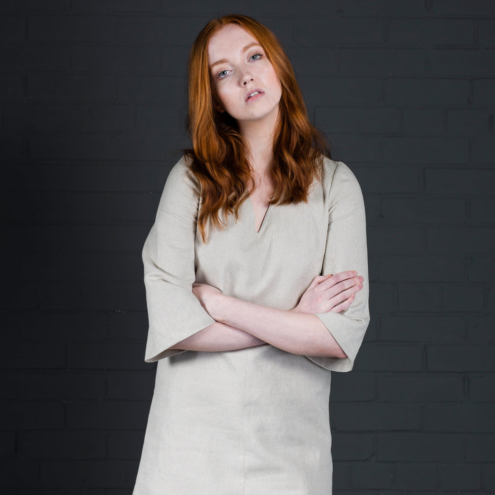 signe dress batch manufactured in your fabric by kalopsia collective in scotland