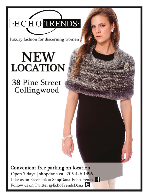 Advertisement for CINDY GOBLE LUXURY HAND KNITS at EchoTrends ESCARPMENT MAGAZINE 2015, WINTER EDITION