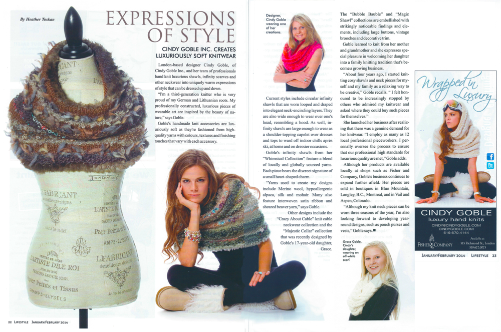 Featured article in  LIFESTYLE MAGAZINE,  January/February 2014 issue