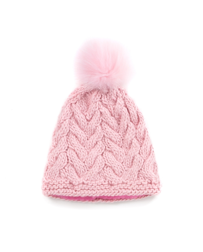 932f95261faa6 KNIT BEANIE CAP TOQUE - POWDER PINK CABLE KNIT HAT — Goble