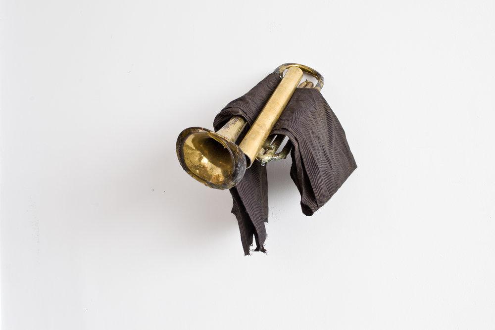 Uri's Trumpet | Found brass, Japanese cotton, trumpet, polyurethane, wood stain, 2017