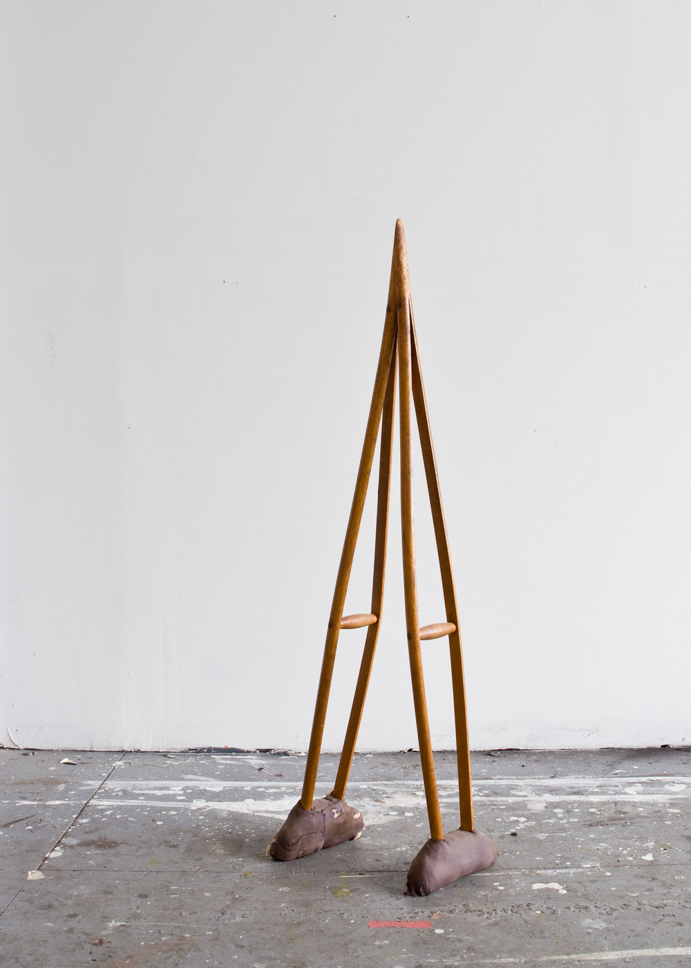 C-1 | Found antique crutches, fabric, wood stain, 2017