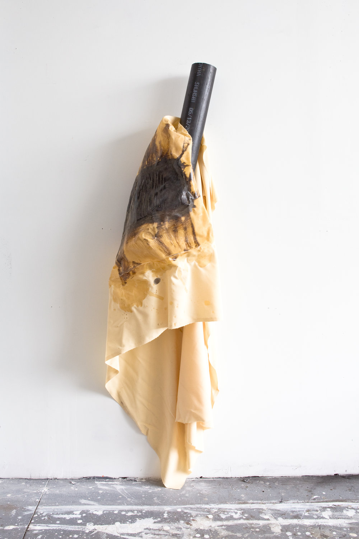 Untitled 3 | Found steel, cotton,polyurethane, wood stain, magnet, 2017