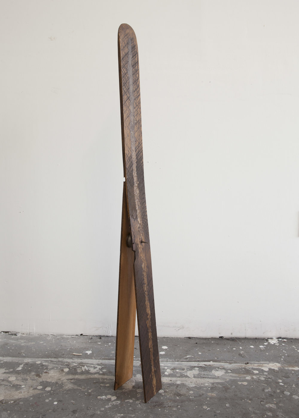 Untitled (current), wood, wax, stain, found metal, 2017