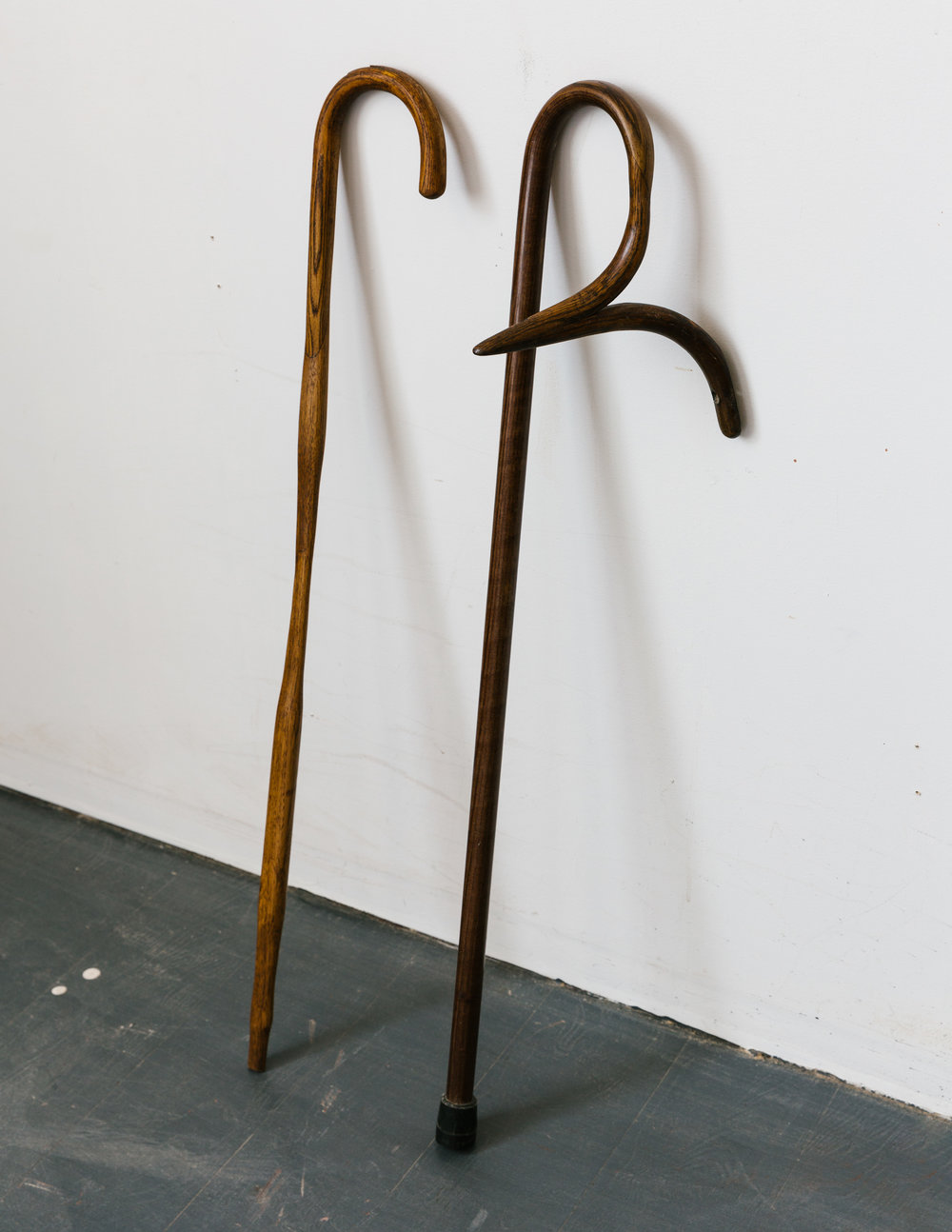 Found cane and three hammer handles, 2018  The Mountains are Calling | Found wood cane, chair parts, rubber, 2018, 38 x 7 x 6.5 inches
