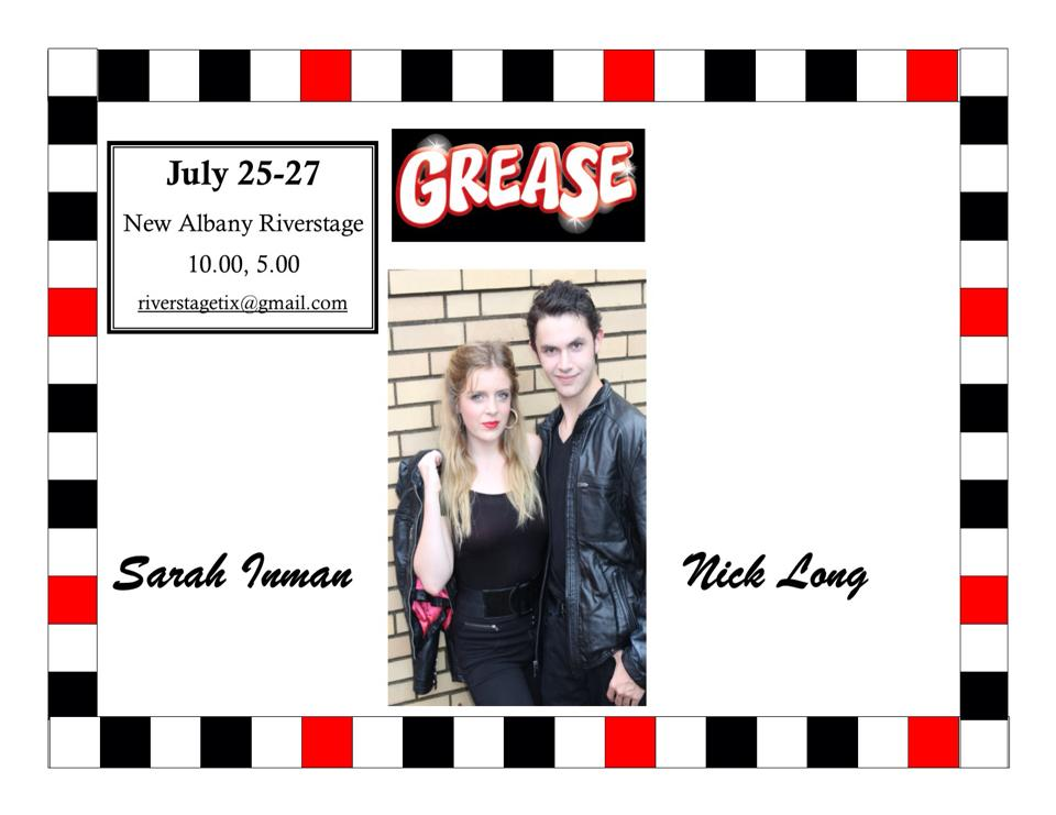 New Albany Riverstage Productions is back!  Fresh off the success of last year's Seussical, NARP returns to the New Albany Riverfront Amphitheater for a showing of GREASE!  Shows are on Saturday July 25, July 26, and July 27.  (All shows begin at 8pm).  E-mail riverstagetix@gmail.com for tickets (also purchasable at gate).
